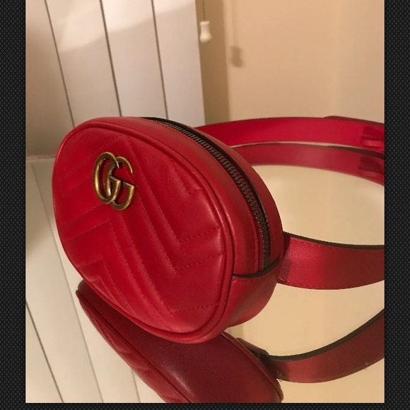 Gucci Marmont red leather belt bag